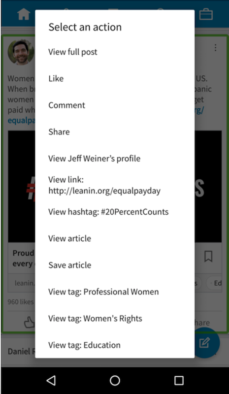 Screenshot of accessibility actions in LinkedIn news feed on Android