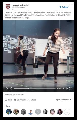 Sample of Video in LinkedIn Feed