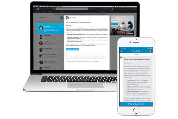 Sponsored InMail message send to prospects on desktop and mobile device