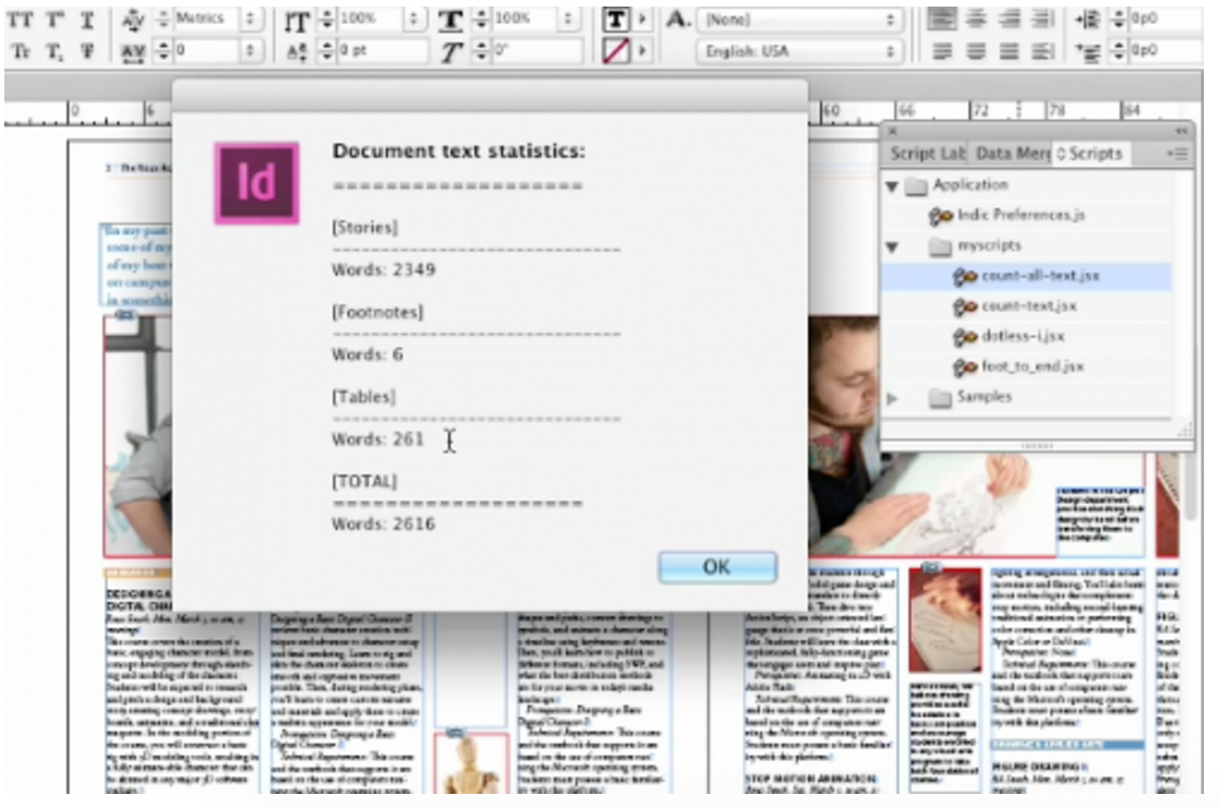 surprising ways to do a word count in indesign indesign secrets the first is count text it counts all the words in your story the second called count all text counts all the words in your story plus the ones hidden