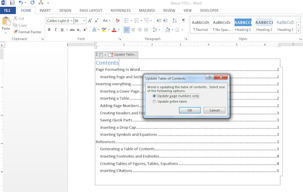 Auto updating table of contents in word 2007
