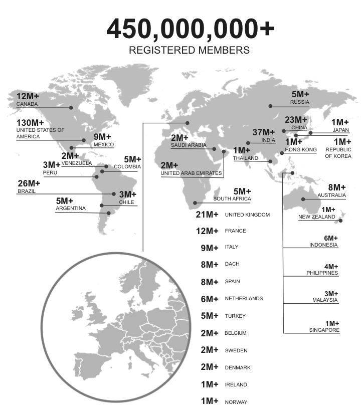 450 million plus LinkedIn members across the world
